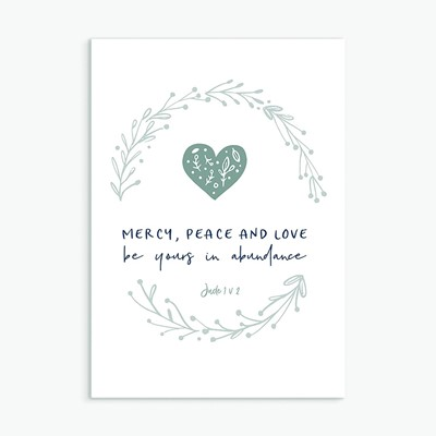 Mercy, Peace and Love Greeting Card (Cards)