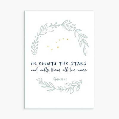 He Counts the Stars Greeting Card (Cards)