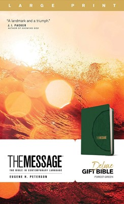 Message Deluxe Gift Bible, Large Print (Leather-Look, Green) (Imitation Leather)