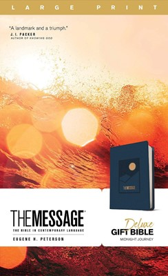Message Deluxe Gift Bible, Large Print (Leather-Look, Navy), (Imitation Leather)