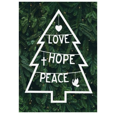 Love, Hope, Peace Christmas Tree Cards (pack of 6) (Cards)