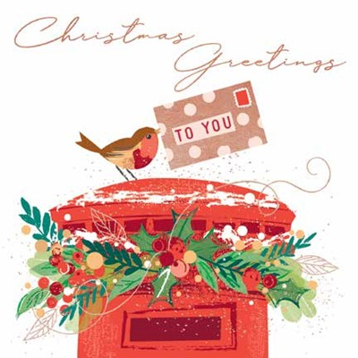 Christmas Cards: Robin on Postbox (pack of 4) (Cards)