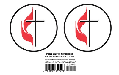 United Methodist Cross & Flame Static Cling (Pkg of 2) (Stickers)