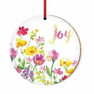 Joy Flowers Ceramic Hanging Decoration (Ornament)