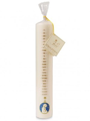 White Dated Advent Candle, Mother & Child (Individual) (General Merchandise)