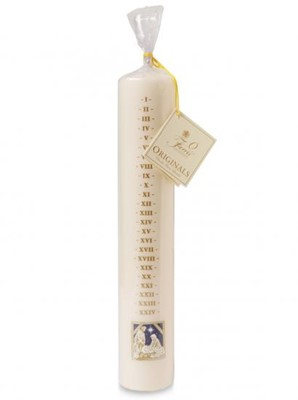 White Dated Advent Candle, Nativity Design (Individual) (General Merchandise)