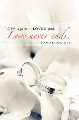 Love Never Ends/Rings Wedding Bulletin (Pkg of 50) (Bulletin)