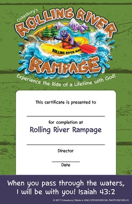 VBS 2018 Rolling River Rampage Student Certificates (Certificate)