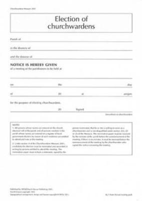 Election Of Churchwardens Pack Sg5 (Paperback)