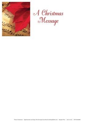 Christmas Poinsettia & Music Letterhead (Pkg of 50) (Loose-leaf)