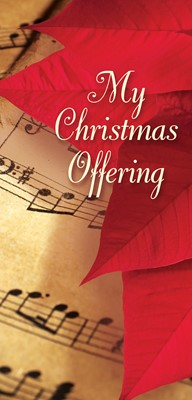 Christmas Poinsettia & Music Christmas Offering Envelope (Pk (Loose-leaf)
