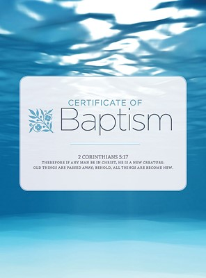 Baptism Water And Clouds Folded Certificate (Pack of 6) (Certificate)