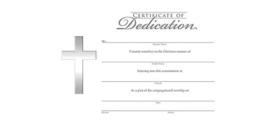 Certificate Of Dedication (Pack of 6) (Certificate)