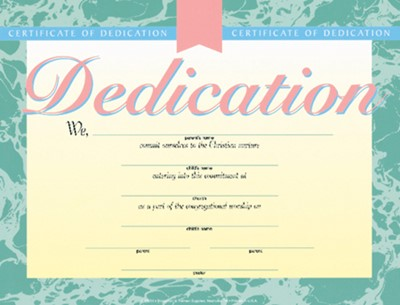 Dedication Certificate (Pack of 6) (Certificate)
