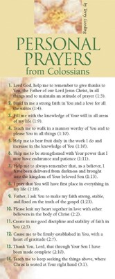 Personal Prayers From Colossians 50-Pack (Multiple Copy Pack)