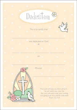 Dedication Certificate (Pack of 10) (Certificate)