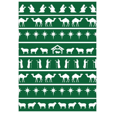 Nativity Pattern Green (Pack of 6) (Cards)