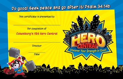 VBS Hero Central Student Certificate (Pack of 48) (Certificate)