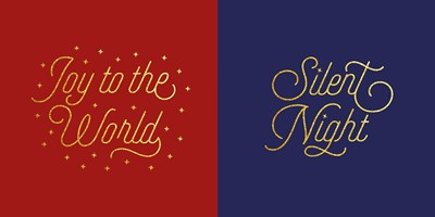 Gold Text Christmas Cards (Pack of 10) (Cards)