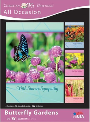 Boxed Card All Occassions - Butterfly Gardens (pack of 12) (Cards)
