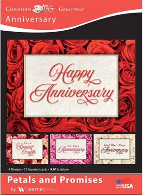 Boxed Card Anniversary - Petals and Promises (pack of 12) (Cards)