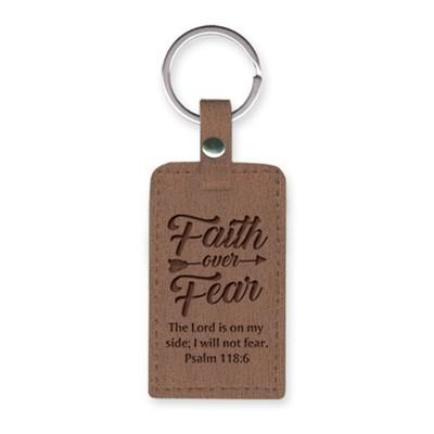 Leather Lux Keyring Faith Over Fear (Keyring)