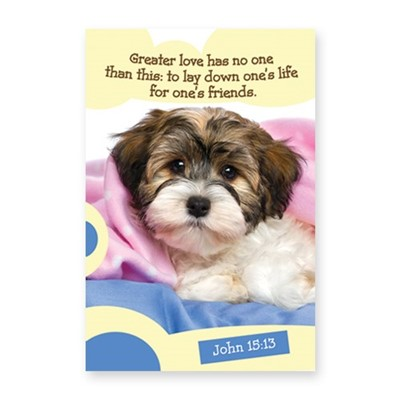 Memo Pad Cute Puppy John 15:13 (Notebook / Blank Book)