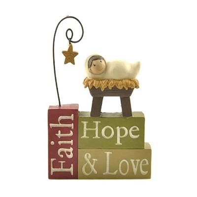 Faith Hope Love with Baby Jesus Blocks (General Merchandise)