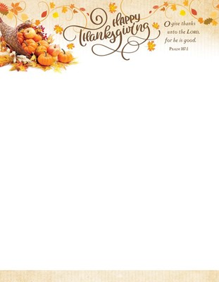 Happy Thanksgiving Letterhead (pack of 100) (Bulletin)