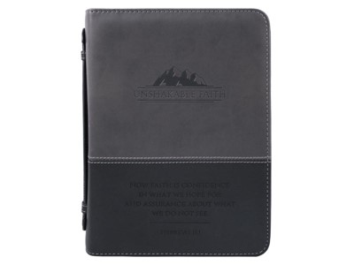 Bible Cover Unshakable Faith Imitation Leather, Large (Bible Case)