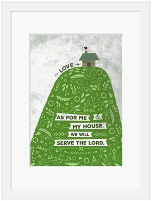 As For Me Hill & House Framed Print, White (10x8) (General Merchandise)