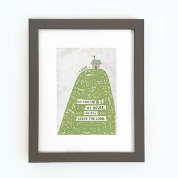 As For Me Hill & House Framed Print, Grey (10x8) (General Merchandise)