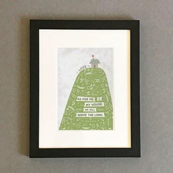 As For Me Hill & House Framed Print, Black (10x8) (General Merchandise)