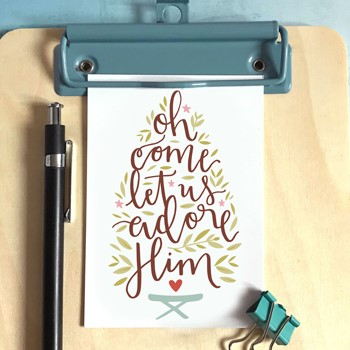 Oh Come Let Us Adore Him Christmas Mini Card (Cards)