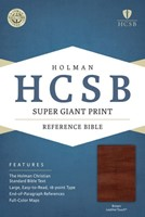 HCSB Super Giant Print Reference Bible, Brown, Indexed
